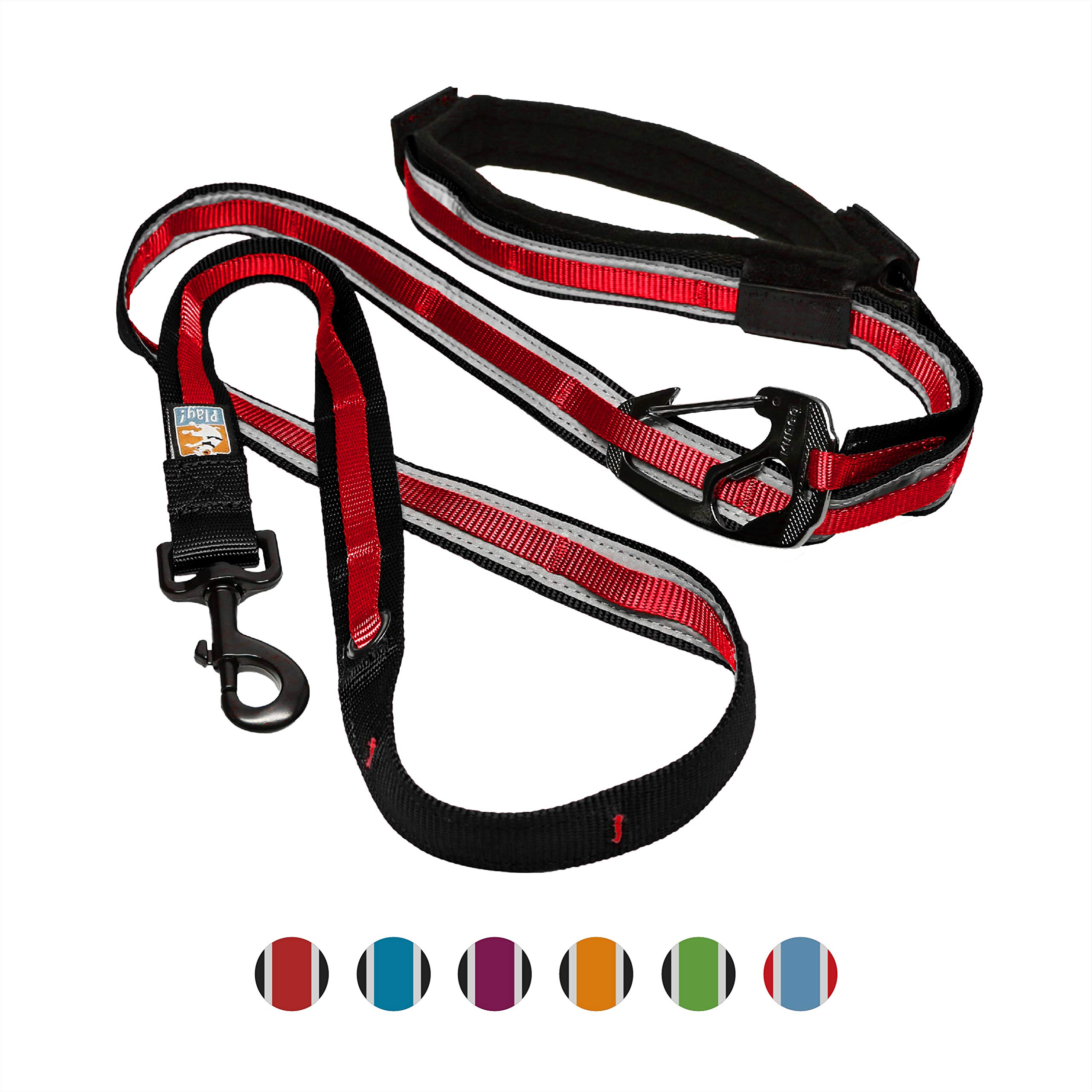 Kurgo 6 in 1 Quantum Dog Leash | Multi-Functional Hands Free Leash for Dogs | Reflective & Adjustable 6ft Lead | Dog Waist Running Belt | Padded Handle | for Training, Hiking, or Jogging | Barn Red