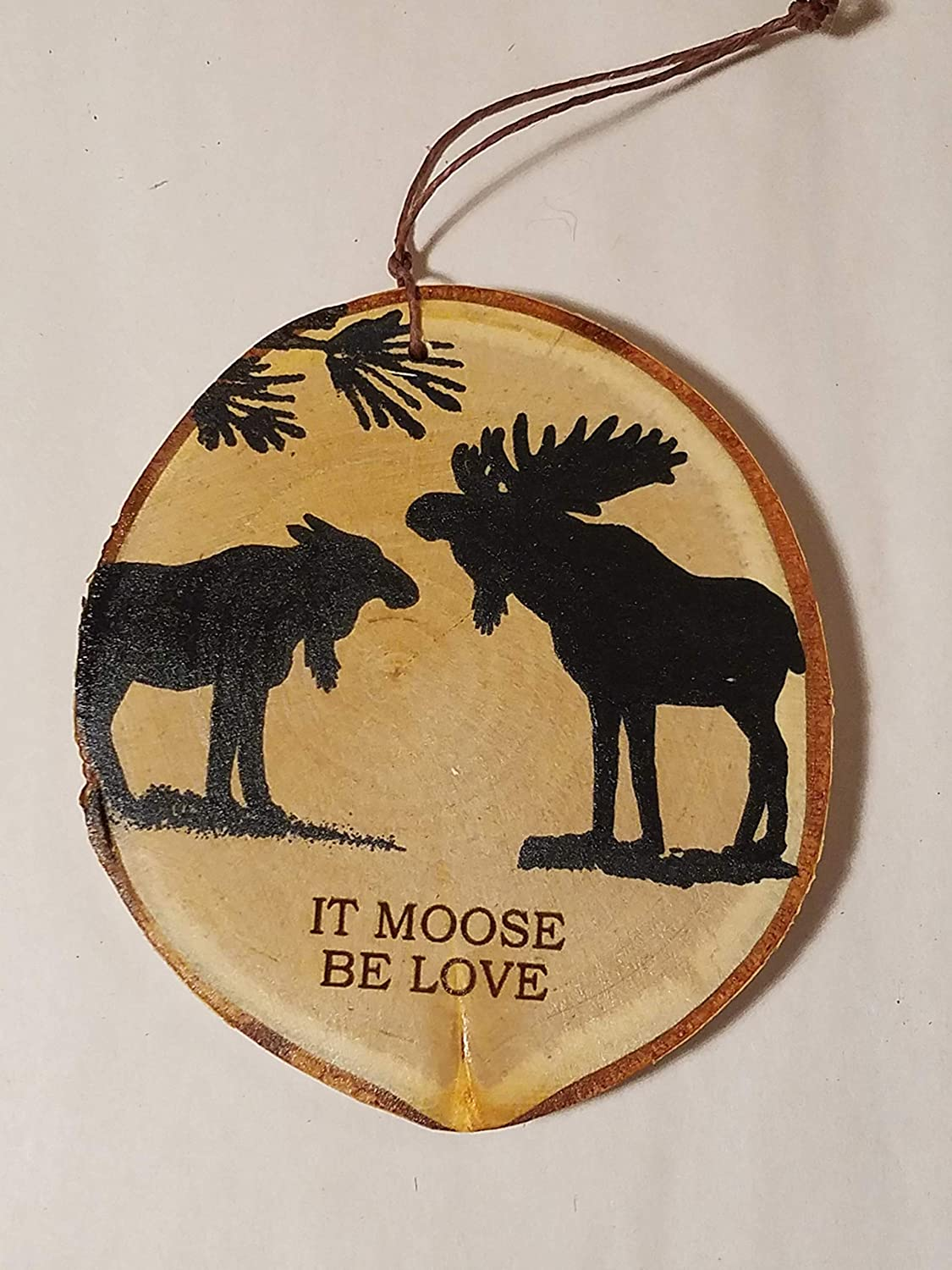 PERSONALIZE IT! Moose Christmas Tree Ornament hand painted on a birch tree wood slice for a woodland rustic cabin decor