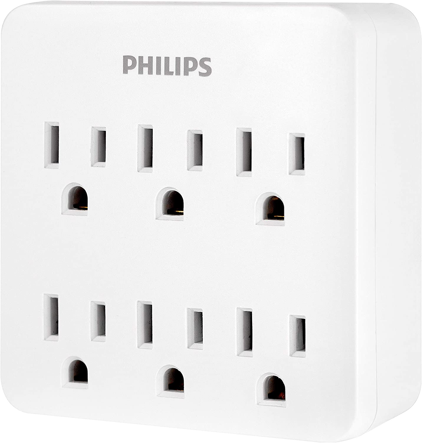 Philips 6-Outlet Surge Protector, 3-Prong Wall Adapter Plug, 1020J, White SPS1006WA/37