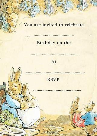 10 X PERSONALISED PETER RABBIT BENJAMIN BUNNY BIRTHDAY PARTY INVITATIONS