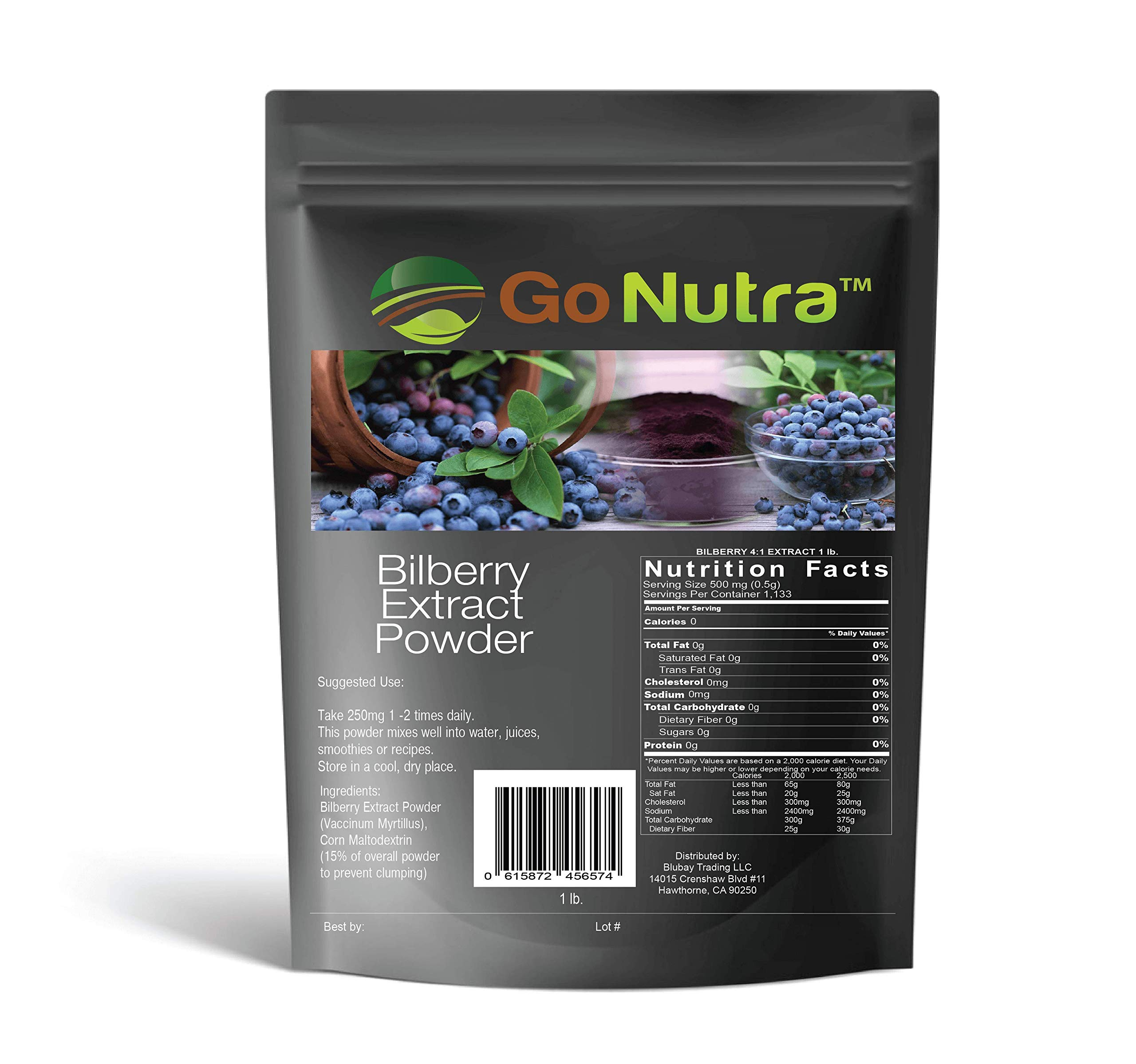 Bilberry Fruit Powder 4:1 Extract 4X Stronger Antioxident 1 lb