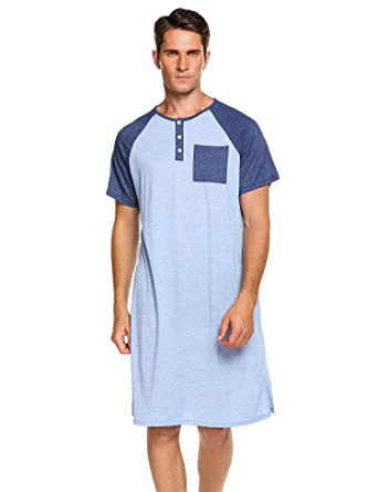 Langle Mens Knit Cotton Sleep Shirt Short Sleeve Nightshirt Henly  Loungewear (Blue 73ad4965e