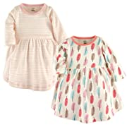 Touched by Nature Baby Girls' Organic Cotton Dress, 2 Pack, Feathers, 3-6 Months (6M)