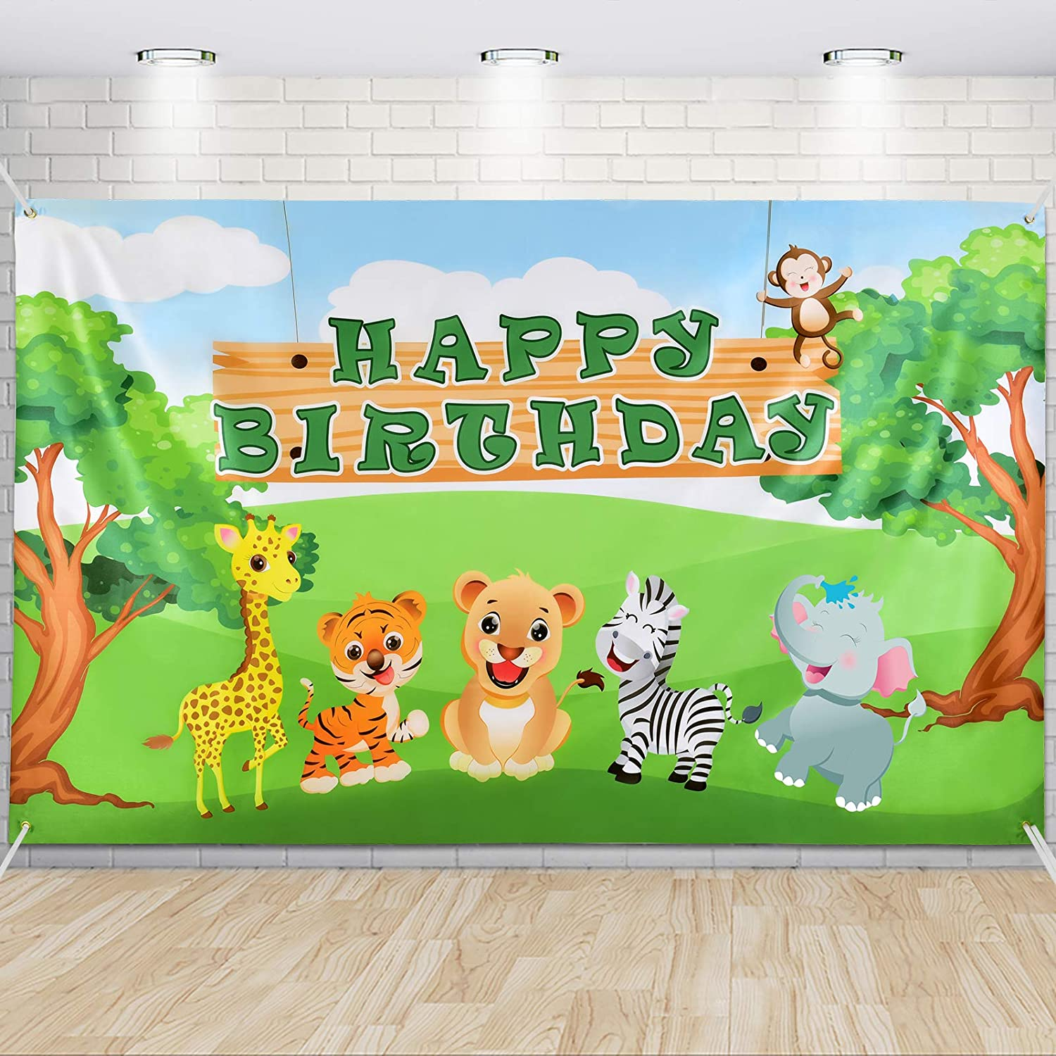 Jungle Birthday Party Decorations for Kids Jungle Safari Backdrop 73'' x 43'' Safari Animals Theme Party Supplies Large Photography Background Wall Banner Room Decor