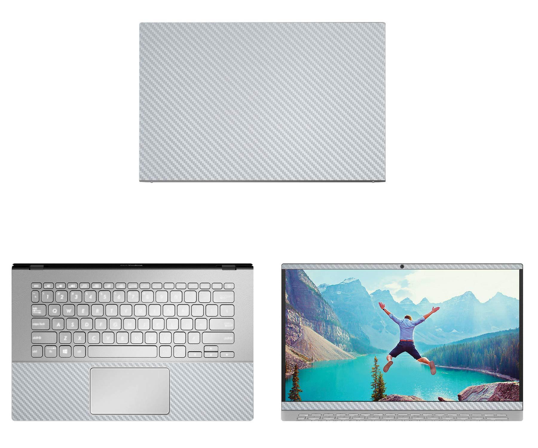 decalrus - Protective Decal for Asus VivoBook 14 X420UA (14'' Screen) Laptop Silver Carbon Fiber Skin case Cover wrap CFasusVivobk14_x420uaSilver
