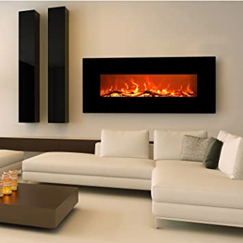 "Amazon.com: EZcheer 50"" Electric Fireplace Wall Mounted Heater Realistic Flame & Sound 1500w Adjustable Remote Control: Home & Kitchen"