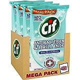 Cif Lingettes Nettoyantes Antibactériennes 480 Lingettes (Lot de 4x120 Lingettes)