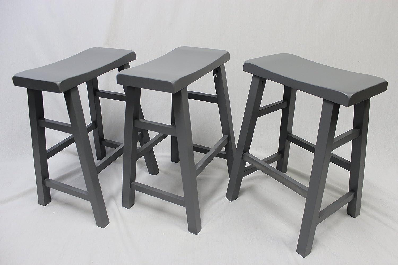 eHemco Set of 3 Heavy Duty Saddle Seat Bar Stools Counter Stools – 24 Grey Gray