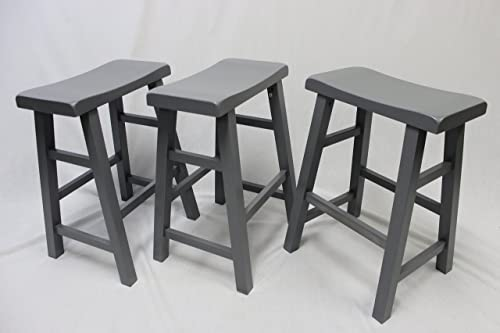 eHemco Set of 3 Heavy Duty Saddle Seat Bar Stools Counter Stools – 24 Grey Gray