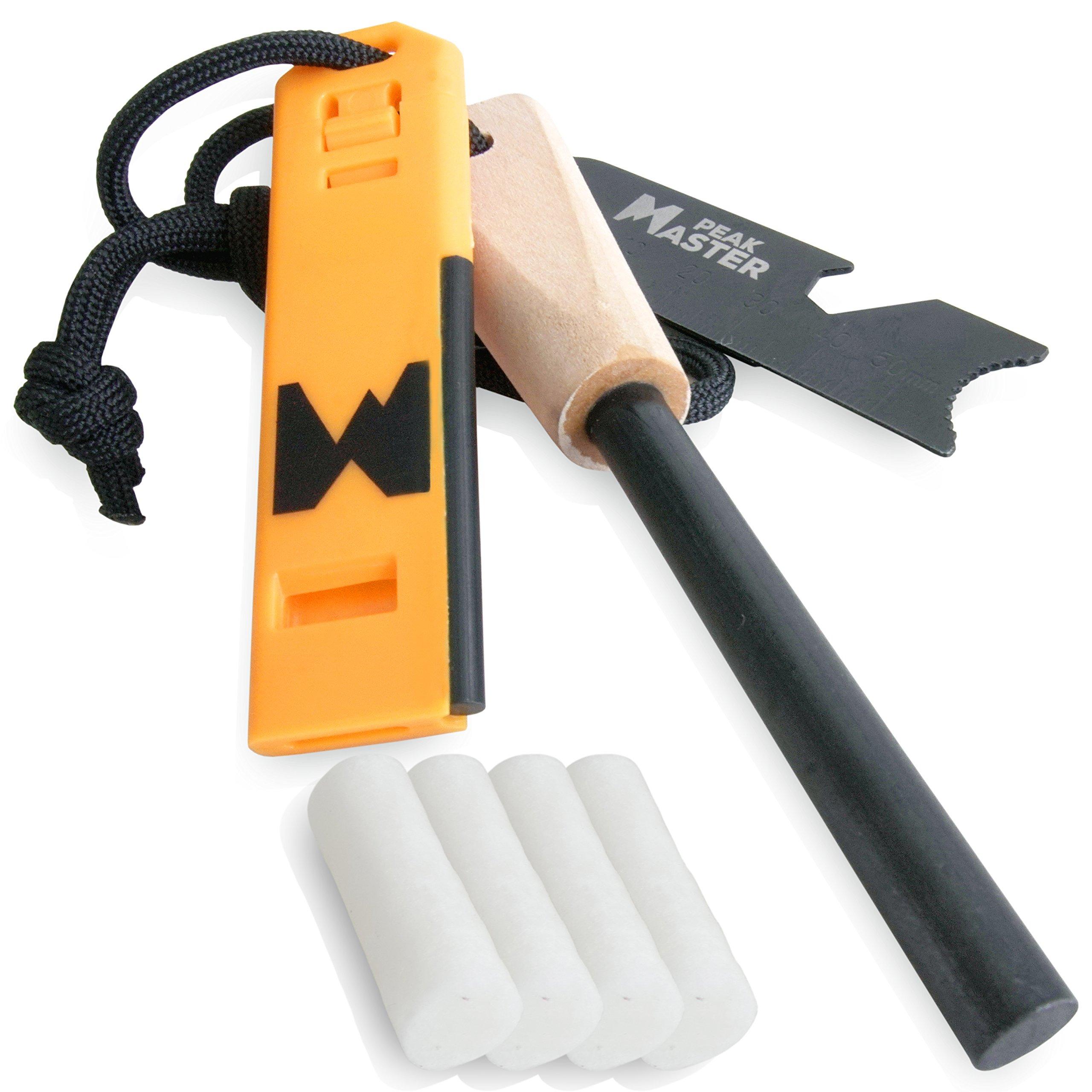 PEAK MASTER Emergency Fire Steel | 1/2'' 5/16'' Thick Ferro Rod Wood Handle + Survival Whistle Fire Starter, Cotton Tinder Multi-Tool Striker