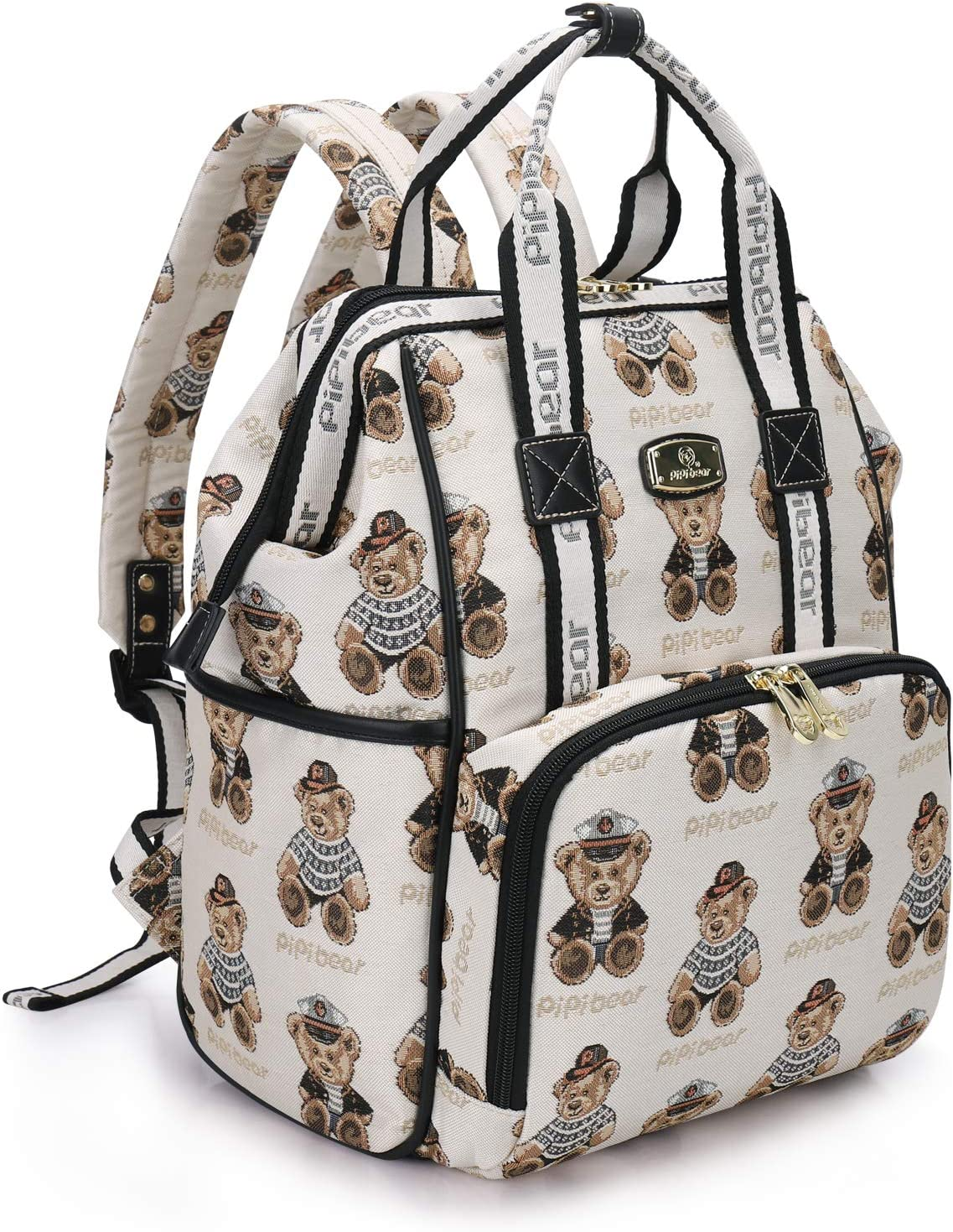 Pipi bear Changing Bag Backpack Stylish Jacquard Baby Travel Back Pack Nappy Changing Bag for Mom
