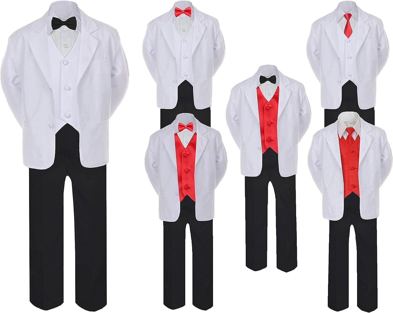 Unotux 5 7pc Formal Black White Suit Set Red Bow Necktie