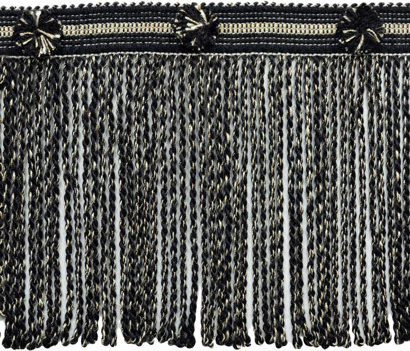 Sold by The Yard Sandstone Bullion Fringe Trim|Style# BFHR6|Color: Noir Beige D/ÉCOPRO 6 Inch Long Black 21775