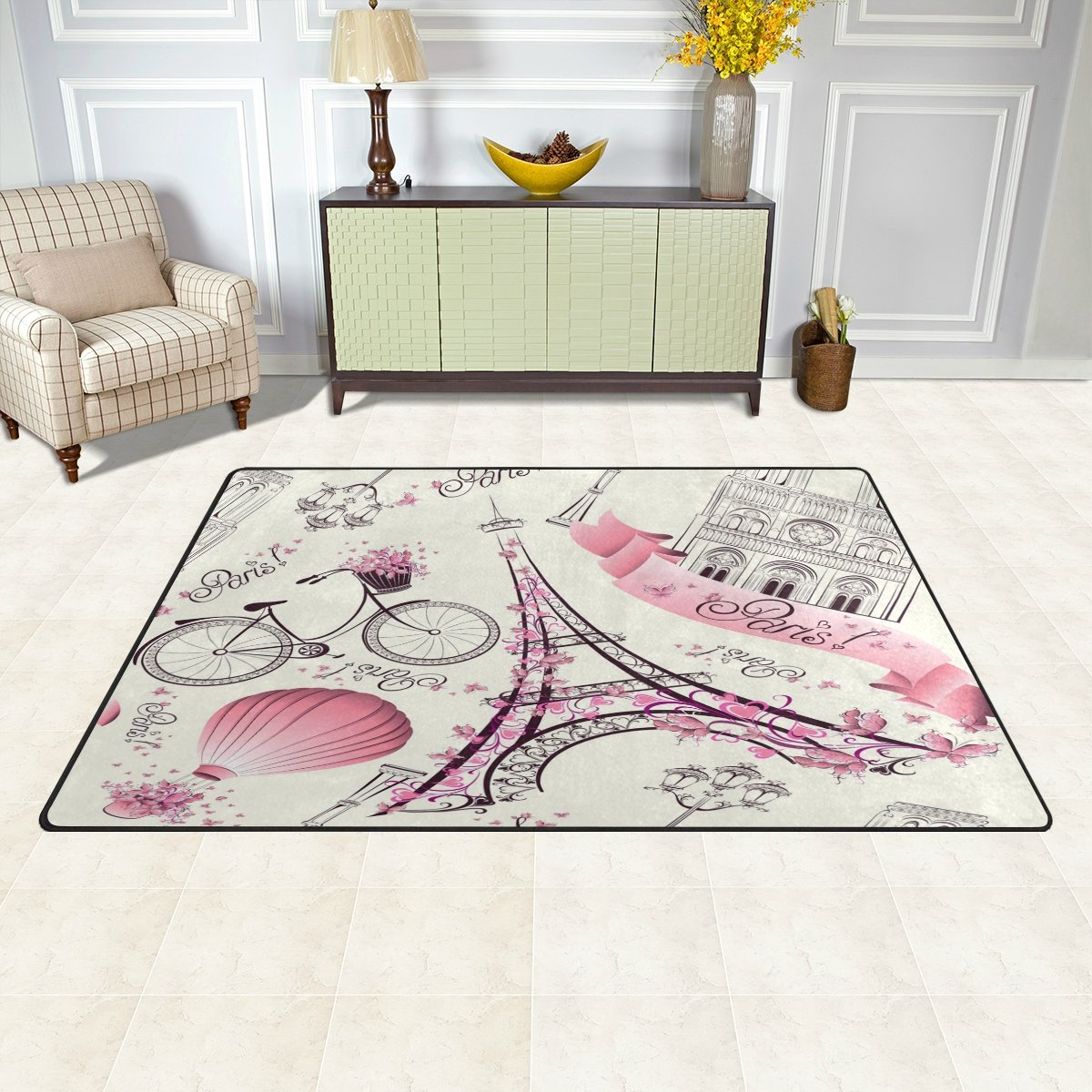 WOZO Retro Eiffel Tower Paris Bicycle Area Rug Rugs Non-Slip Floor Mat Doormats Living Room Bedroom 31 x 20 inches