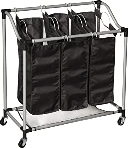 Hamilton Beach 83100 3 Section Laundry Sorter and Hamper 3 Mesh Machine-Washable Bags with Handles and Wheels, Black