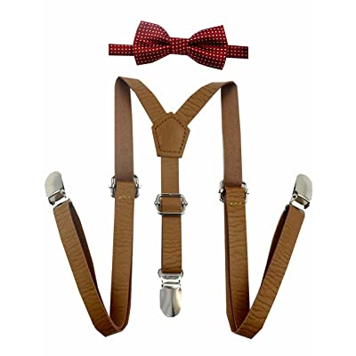 Skinny Leather Suspenders with Bow Tie for Baby, Toddler, Kids and Children Boy