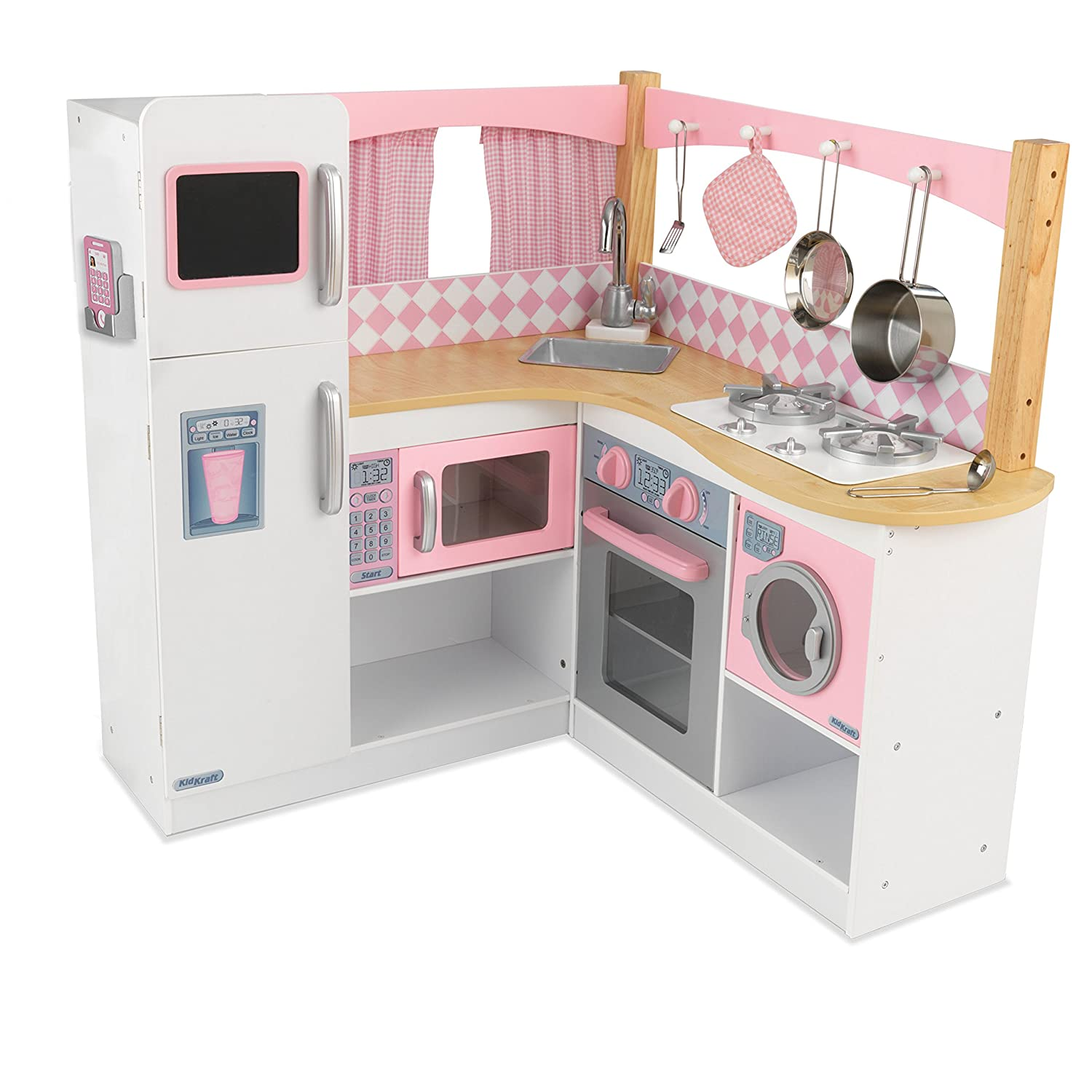 1e2faa8bc360 KidKraft 53185 Grand Gourmet Corner Wooden Pretend Play Toy Kitchen for  Kids with role play accessories included - Pink & White: Kidkraft:  Amazon.co.uk: ...