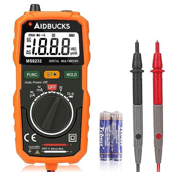 Multimetro Digital AIDBUCKS MS8232 AC/DC Rango Automático Voltímetro Amperímetro Profesional con NCV Medidor Voltaje Ohmímetro Polimetro Bolsillo con ...