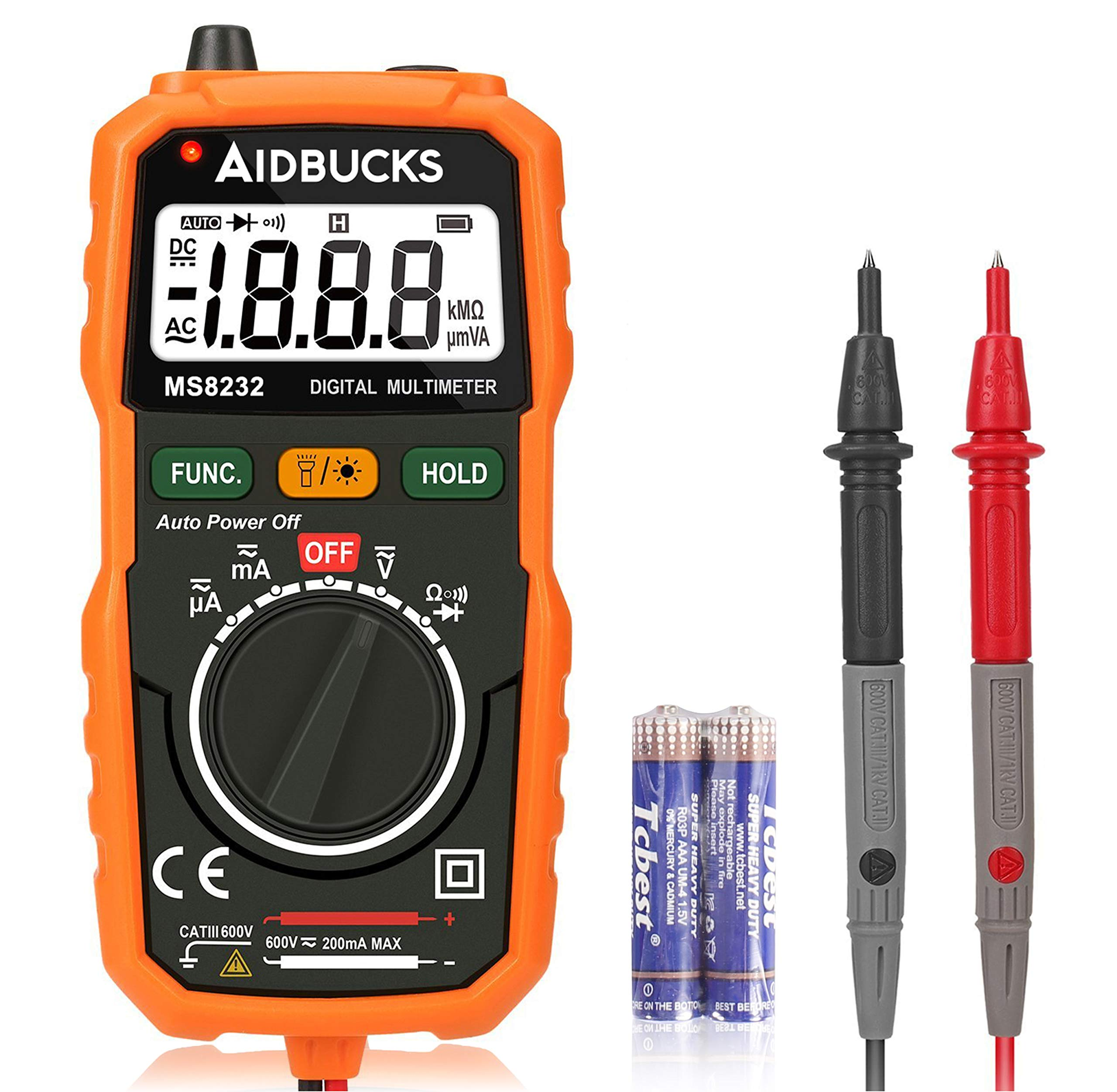 Digital Multimeter Auto Ranging Non Contact Voltage Detector Electrical Multi Circuit Volt Ohm Tester AC/DC Battery Tester Ammeter Voltmeter Current Continuity Resistance Test Meter by Aidbucks MS8232