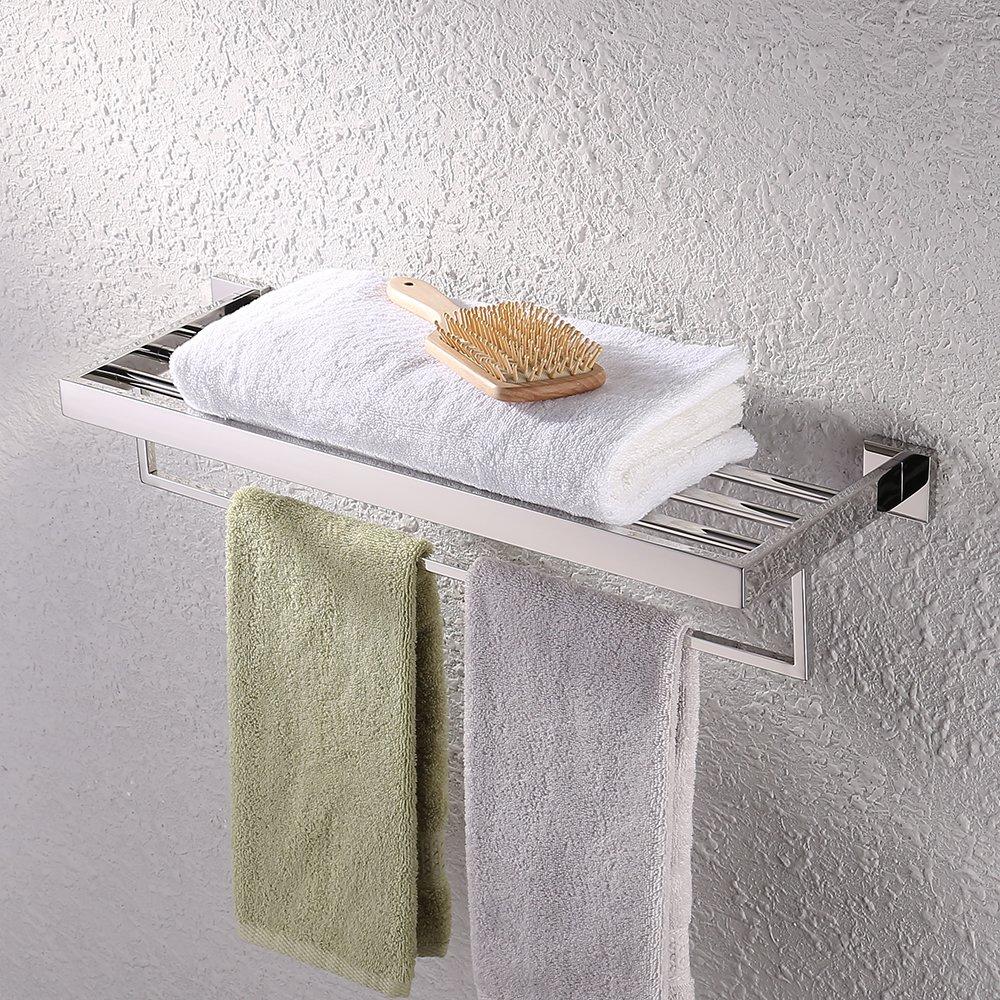 KES Bathroom Lavatory Double Bathroom Shelf Towel Rack Wall Mount, Polished Stainless Steel, A2510