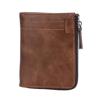 code promo 0c91a 5d059 Onstro Portefeuille Homme Cuir Zippé RFID Vintage Luxe avec Porte Cartes  Porte Monnaie