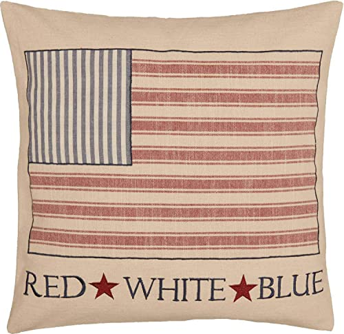 Piper Classics Market Place Red Ticking Flag Throw Pillow Cover, 20 x 20 , Red White Blue Flag Patch, Country Primitive Farmhouse Americana, Patriotic, Independence Day