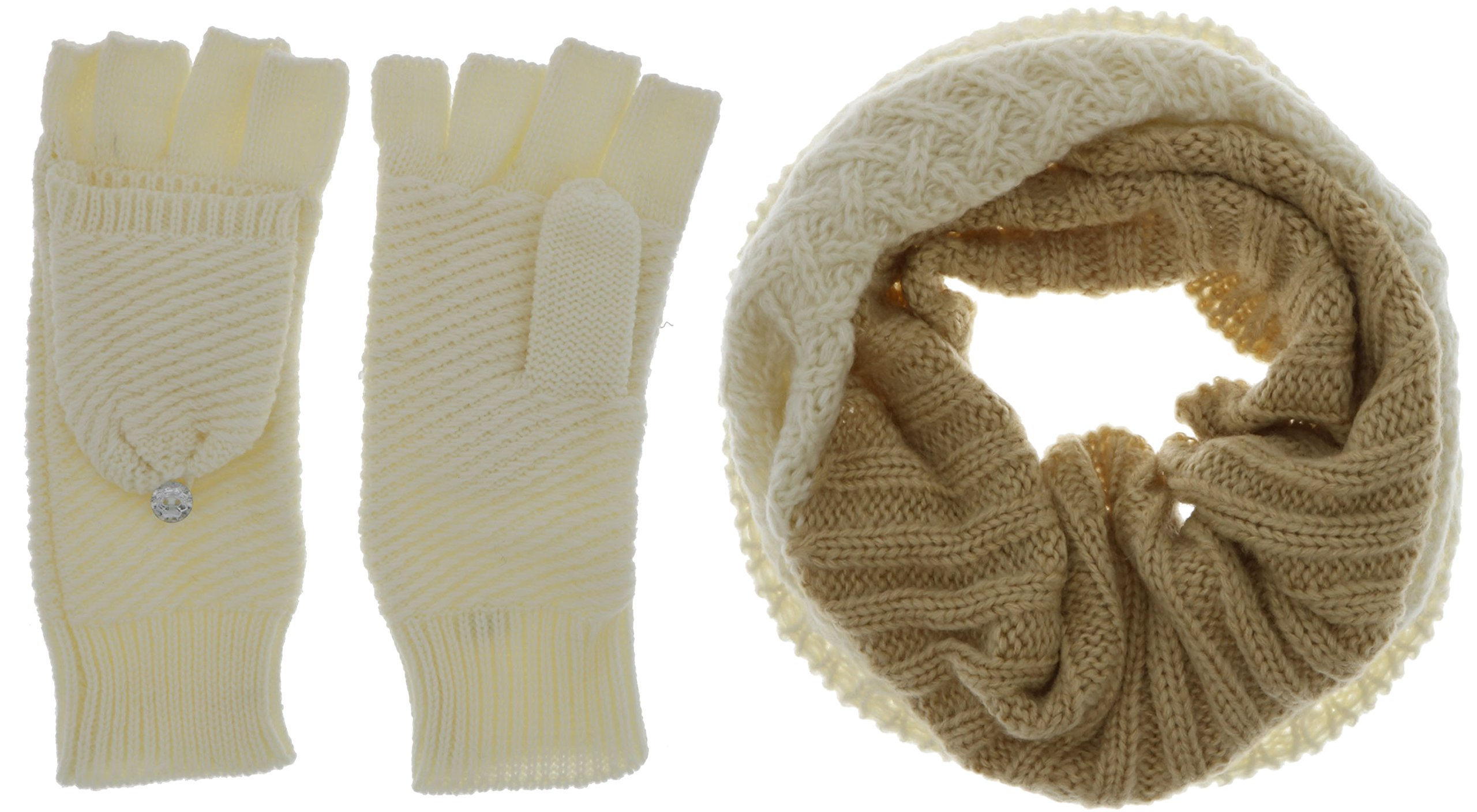 Marilyn Monroe Women's Winter Infinity Scarf and Glove Gift Set (Beige & Cream)