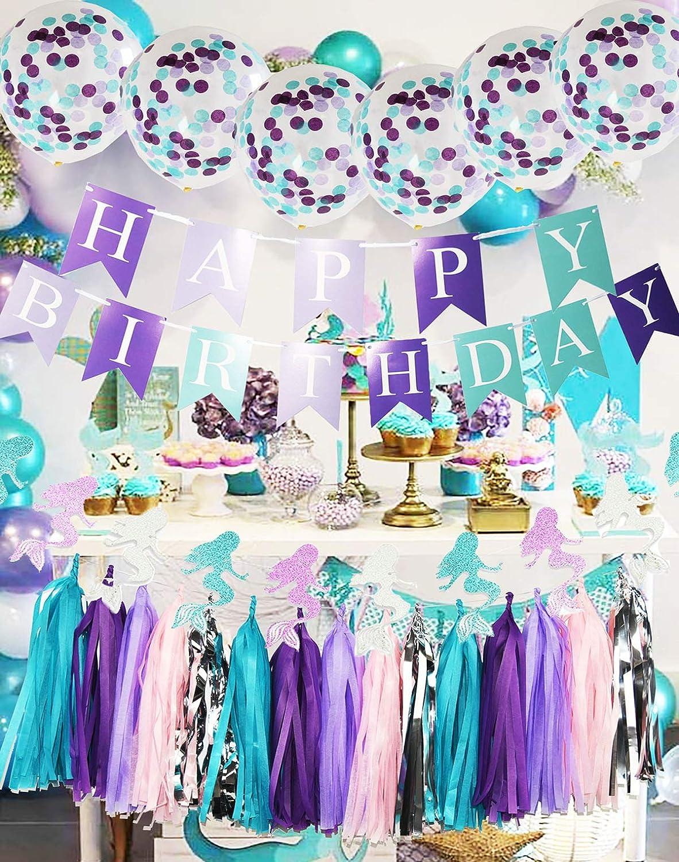 Purple Teal Mermaid Party Supplies Mermaid Teal Purple Cofetti Ballons Glitter Paper Garland Teal Purple Happy Birthday Banner Tassel Garland Mermaid