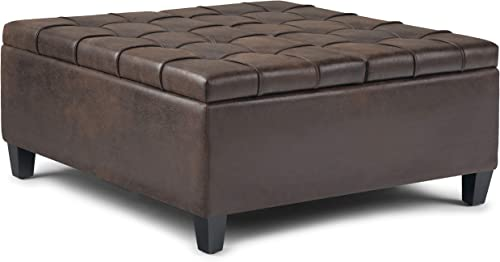 SIMPLIHOME Harrison 36 inch Wide Square Coffee Table Lift Top Storage Ottoman