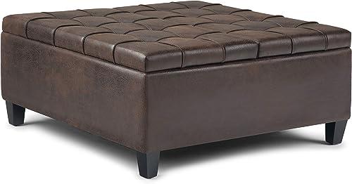 SIMPLIHOME Harrison 36 inch Wide Square Coffee Table Lift Top Storage Ottoman