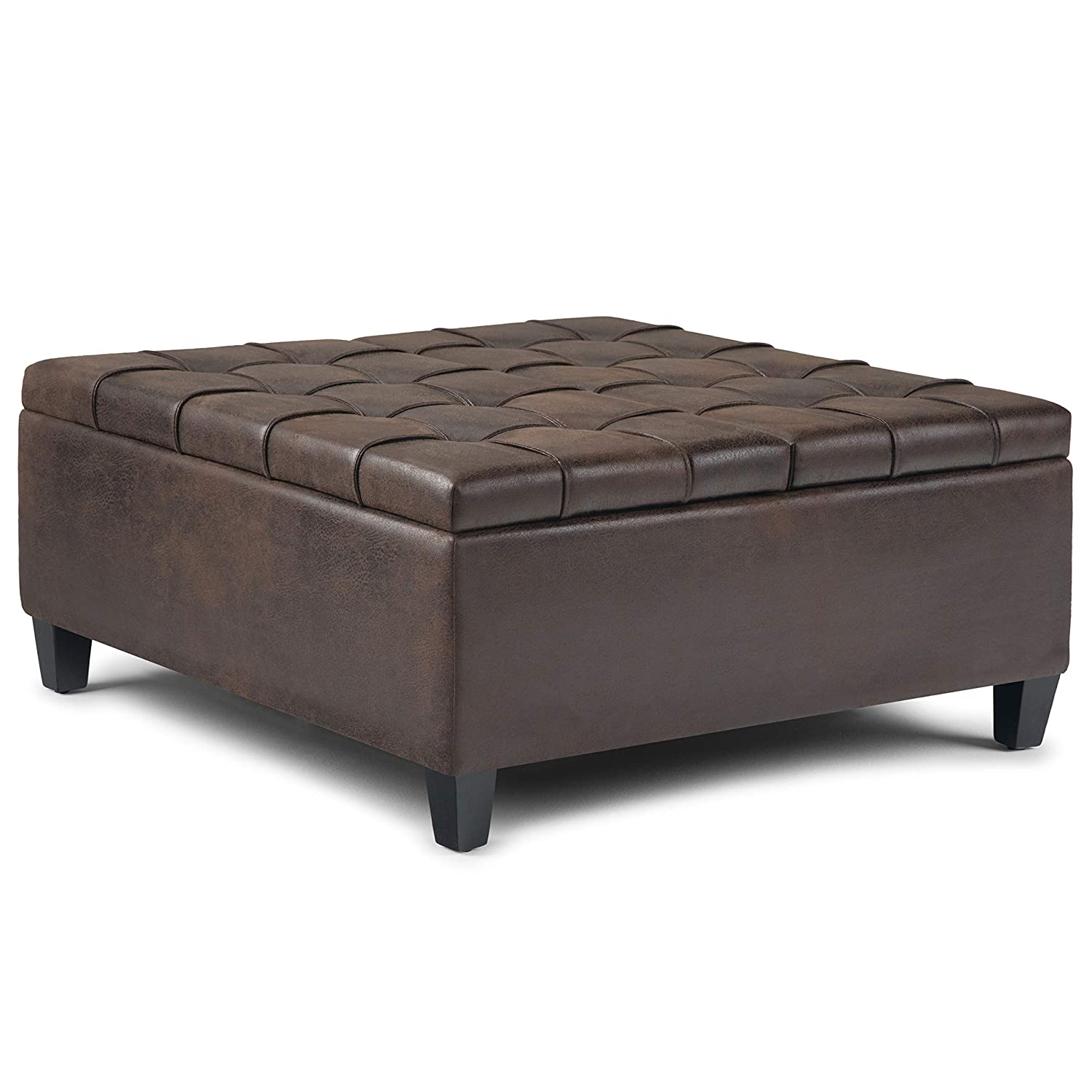 Simpli Home AXCOT-265-DBR Harrison 36 inch Wide Traditional Square Storage Ottoman in Distressed Brown Faux Air Leather