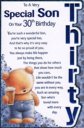 Sons 30th Birthday Card To A Very Special Son On Your 30th
