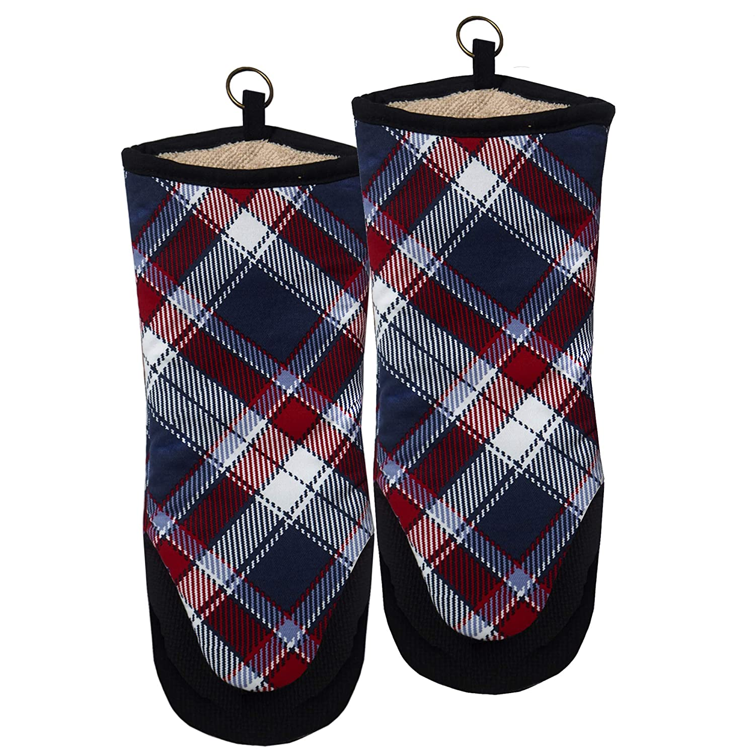 RED LMLDETA Oven Mitts Gloves Neoprene Puppet 1Pair Heat Resistant Non Slip 100% Cotton Pot Holders Women Men Mittens Cooking Barbecue BBQ Microwave Machine Washable (Blue Plaid)