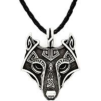 Unique Antique Silver Viking Wolf Pendant Head Necklace Genuine Leather