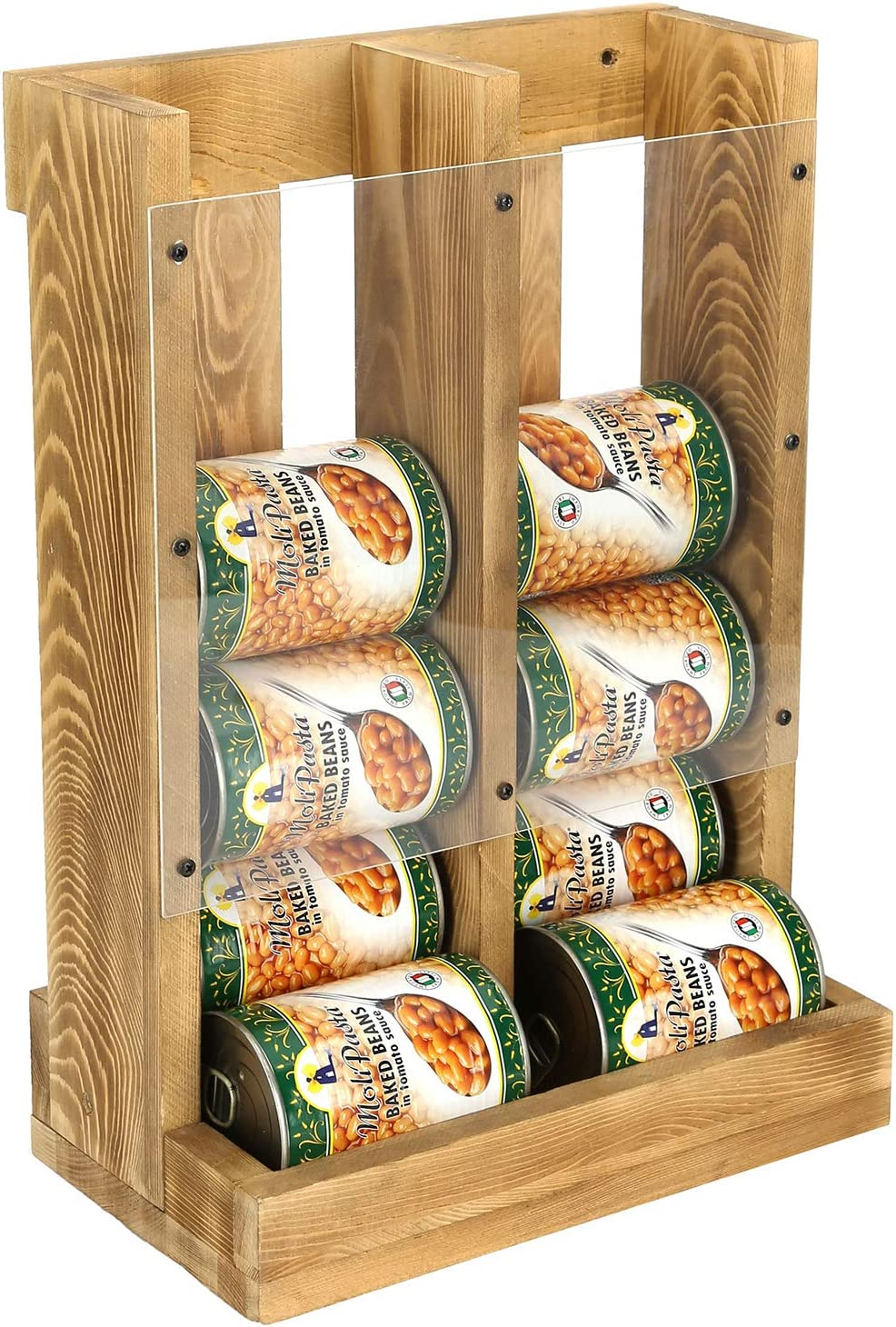 MyGift Rustic Brown Wood and Acrylic Wall Mounted or Tabletop Stacking Can Organizer Dispenser Rack, Holds 12 Canned Food or Soda Cans