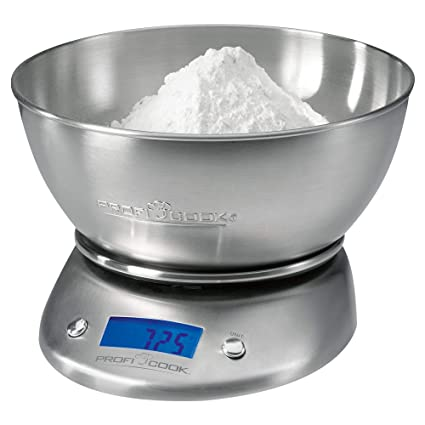 ProfiCook KW1040 Báscula de Cocina Digital con tazón, 5 kg Pasos 1 g, función