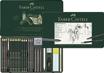 Faber-Castell 112974 - Estuche de metal con 3 ecolápices acuarelables, 9 grafitos 9000, 3 grafito Pitt puro, 3 grafitos y accesorios, multicolor: Amazon.es: Oficina y papelería