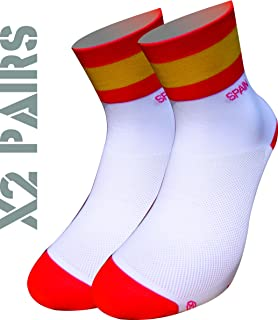 TKS España Socks Pack 2 Pares Softair+, Ciclismo, Running, Triatlon, Golf y