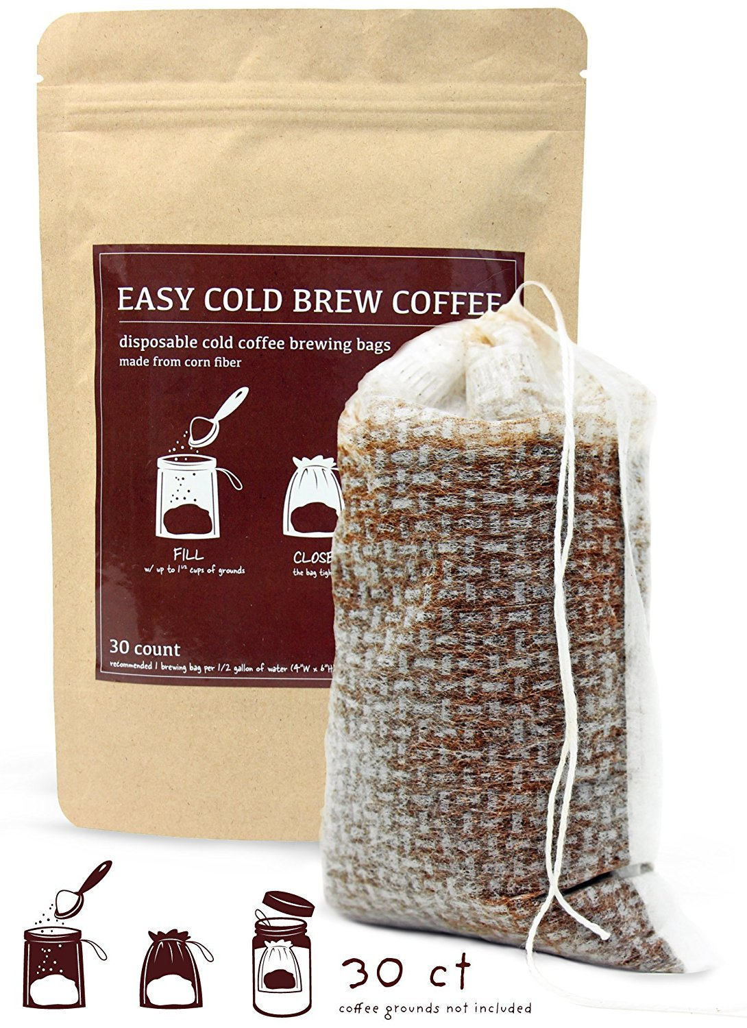No Mess Cold Brew Coffee Filters - Easy, Single Use Filter Sock Packs, Disposable, Fine Mesh Brewing Bags for Concentrate, Iced Coffee Maker, French/Cold Press Kit, Hot Tea in Mason Jar or Pitcher by EasyColdBrewCoffee.com