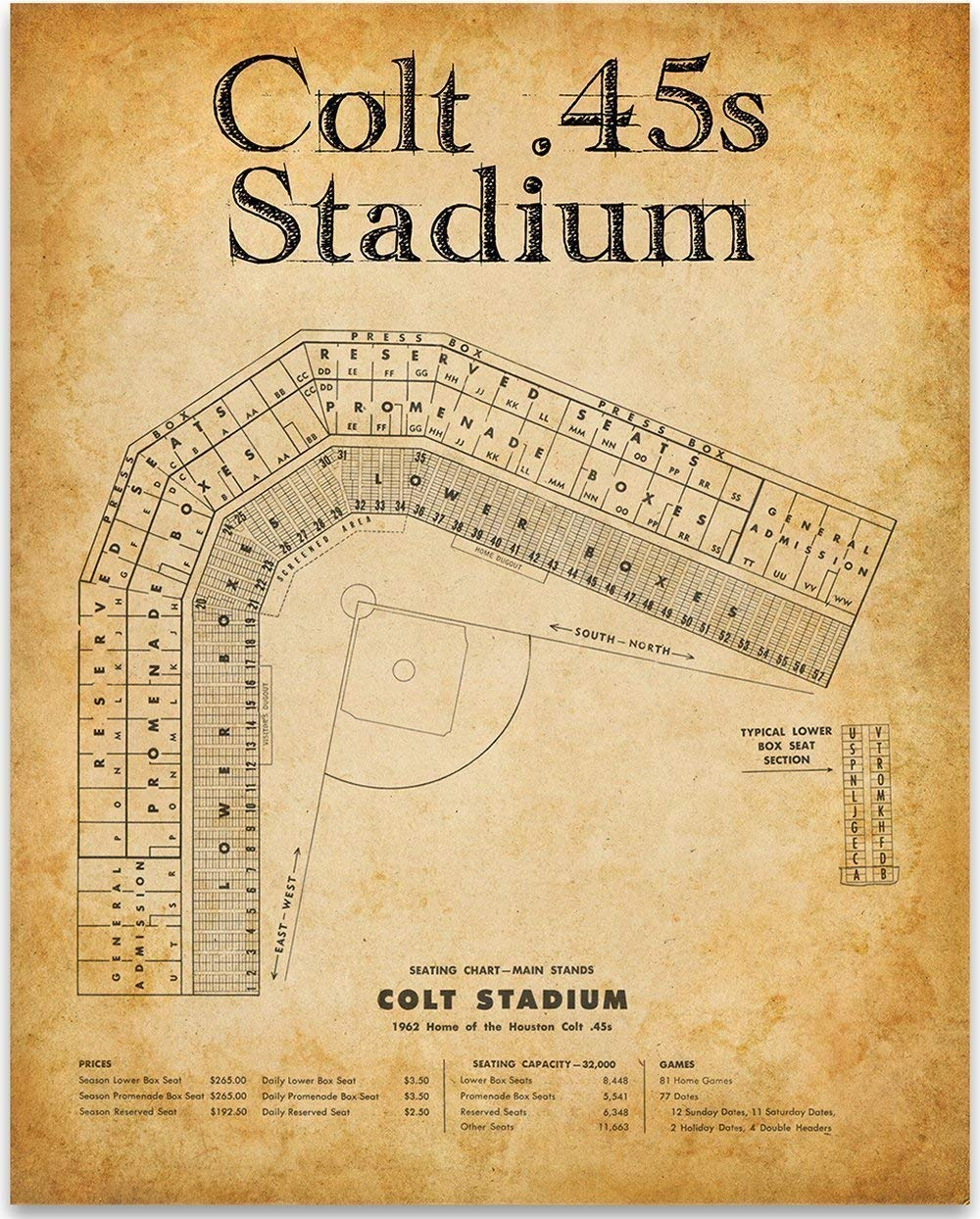Colt 45s Baseball Stadium Seating Chart 11x14 Unframed Art Print Great Sports Bar Decor And Gift Under 15 For Baseball Fans