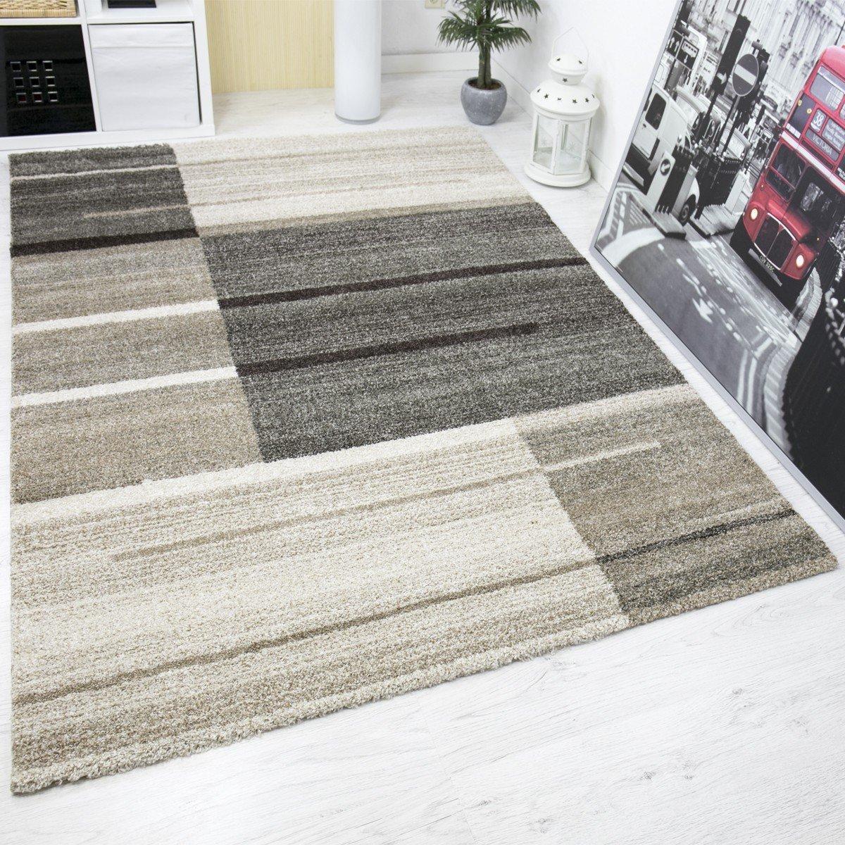 VIMODA Hochwertiger Teppich Beige Grau Kariert Modern Dichter Hoher Flor Mehrfarbig Used Optik, Maße 240x340 cm