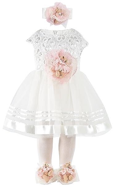 lilax Baby Girl recién nacido Detalle de encaje vestido de novia 5 ...