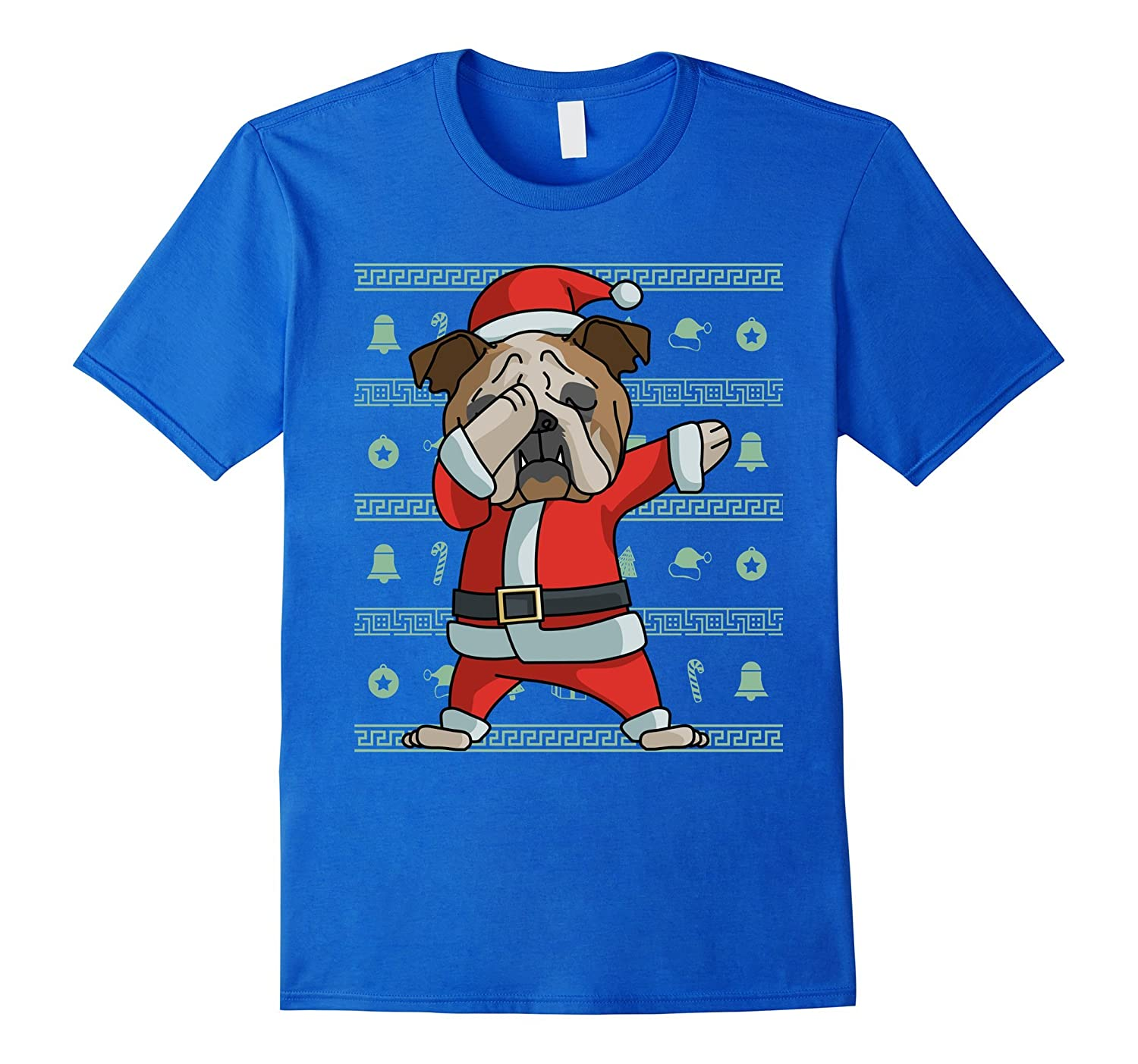 cac287fb Dabbing English Bulldog T-Shirt Funny Christmas Dab Gift Tee-ANZ ...