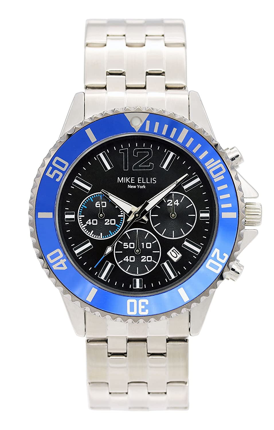 Mike Ellis New York Herren-Armbanduhr RaceTime Analog Quarz Edelstahl SM2907A