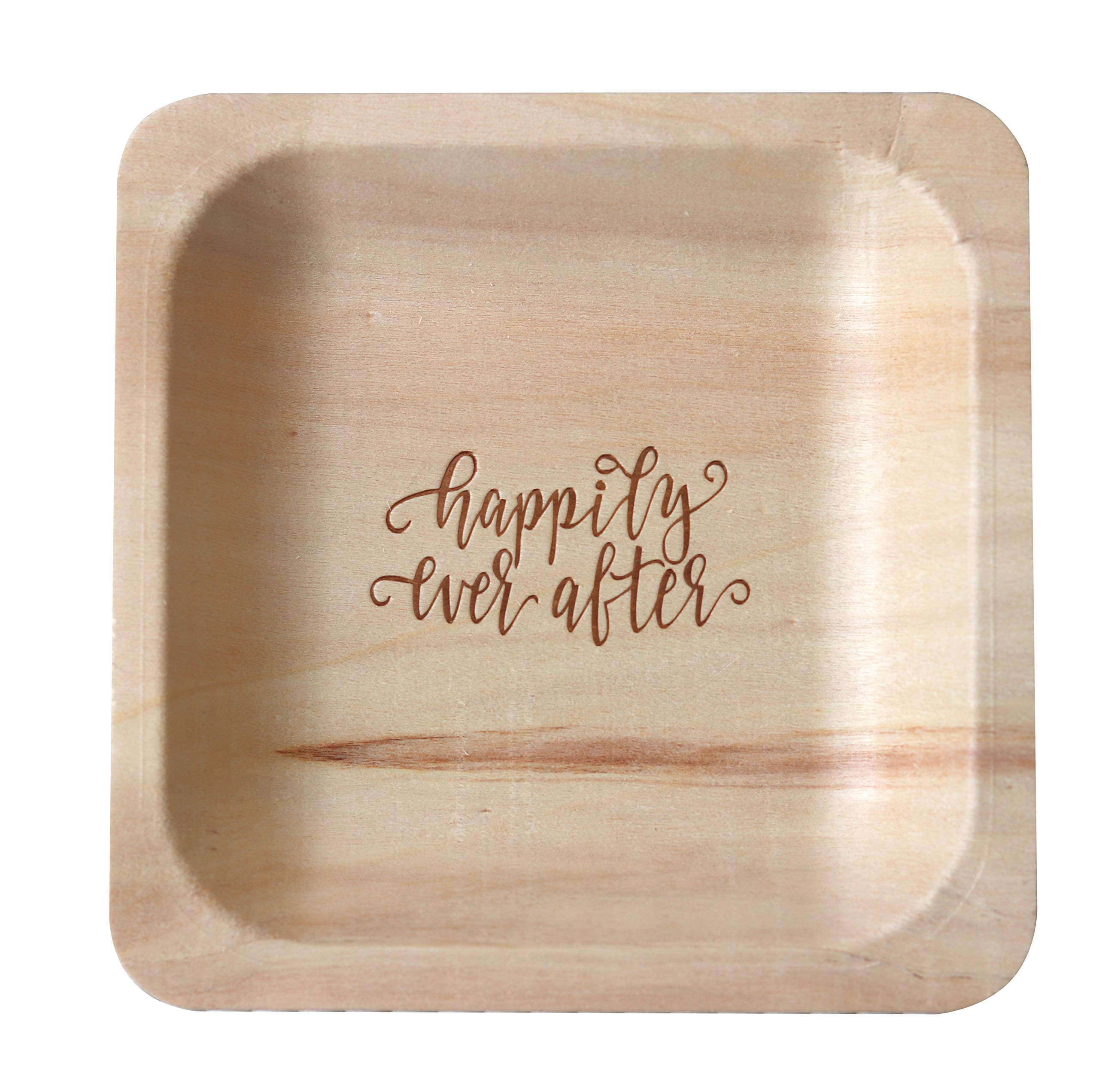''Happily Ever After'' StatementWare Disposable Wedding Plates (50-Pack)-100% Natural, Eco-Friendly Alternative to Plastic Wedding Plates, Catering Plates and Dessert Plates (5.5'' x 5.5'')
