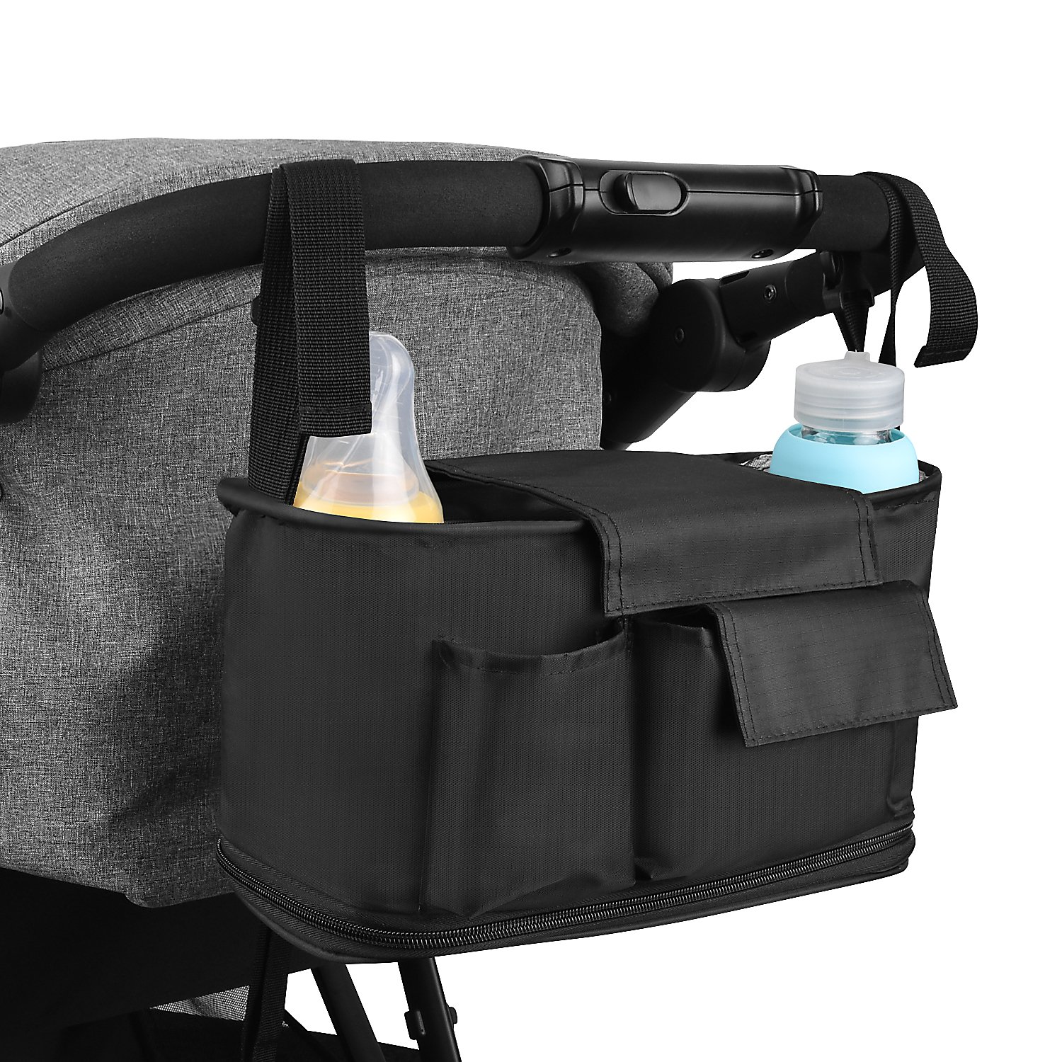 ROOYA Baby Stroller Organizer Premium Deep Diaper Bag with 2 Cup Holders and Shoulder Strap, Extra Storage Space for Toys, Diapers, Phones and Towels - Universal Fit All Buggy Pram Stroller & Black