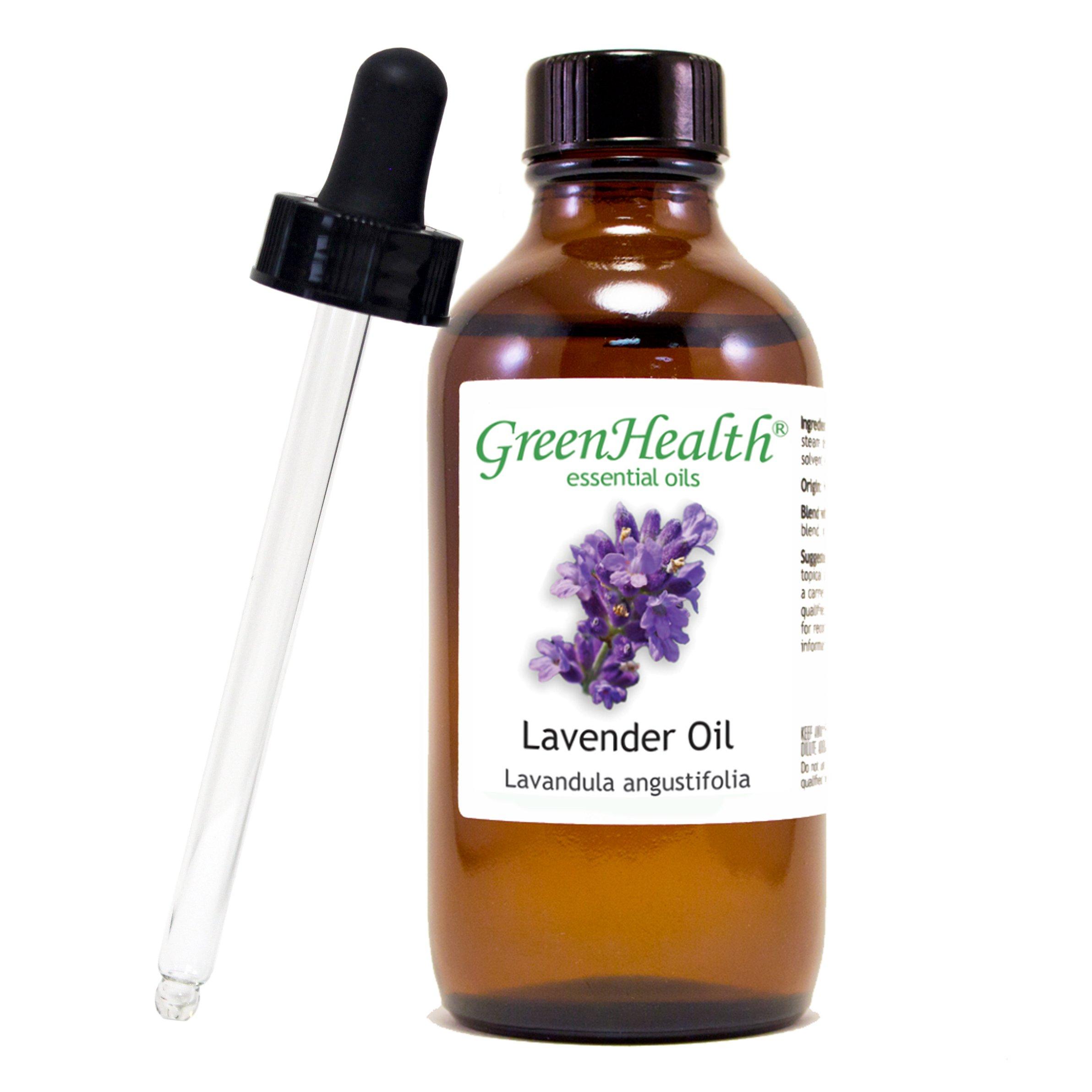 GreenHealth - Lavender Essential Oil, 100% Pure & Natural – 4 fl oz (118 ml) Glass Bottle w/ Glass Dropper – 100% Pure Essential Oil