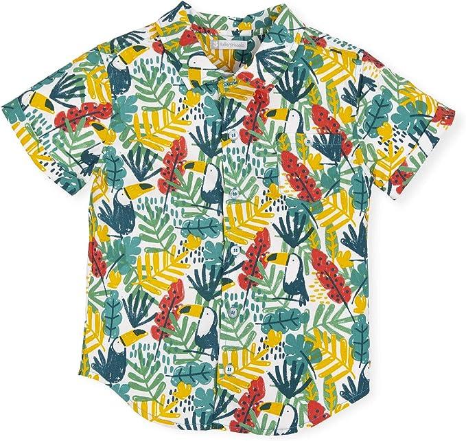 Tutto Piccolo 6770S19 Camisa Manga Corta Niño Algodón (Tallas de 12 Meses a 12 años), Estampado Tropical de Hojas y Tucanes, Colores Verde Rojo y Amarillo: Amazon.es: Ropa y accesorios