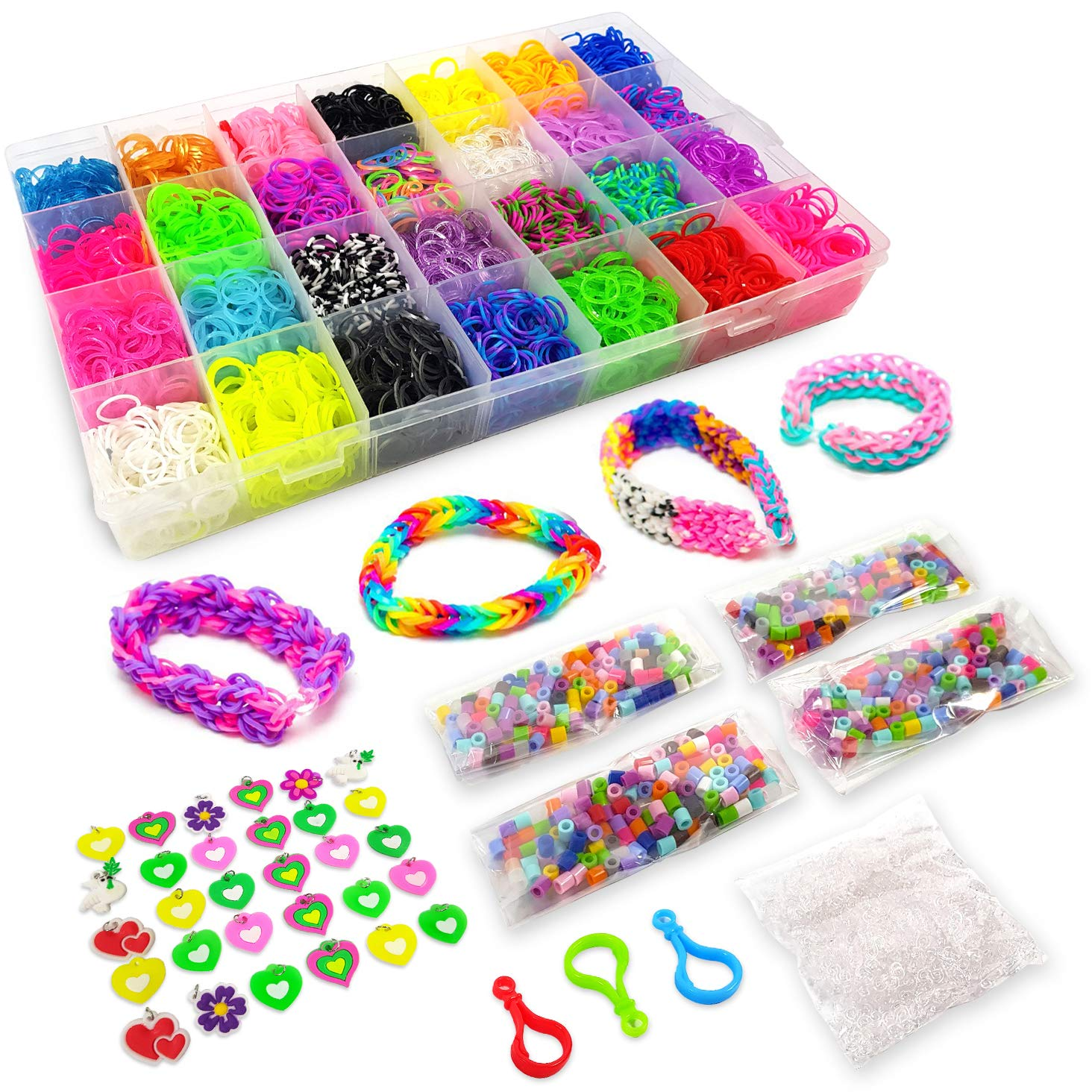 11500+ Rainbow Loom Bands Mega Refill Kit – Rubber Band Bracelet Kit for Kids – 10500 Premium Crazy Loom Rubber Bands, 30 Charms, 5 Hooks, 250 Beads, 550 Clips – DIY Crafts Making Bracelets 42 Colors