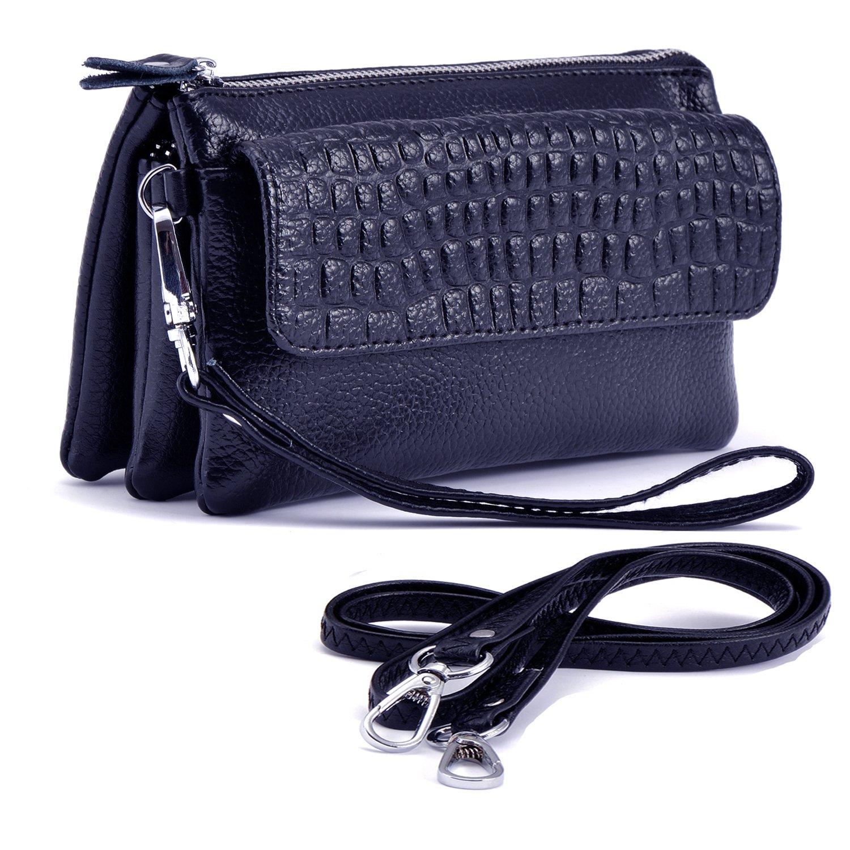 Shalwinn Women's Genuine Leather Crossbody Purse Shoulder bag Cellphone Pouch Purse Wristlet Wallet Clutch with Long Shoulder Strap and Wrist Strap (887#Sapphire Blue)